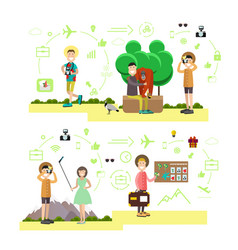 Set of tourist people symbols in flat vector