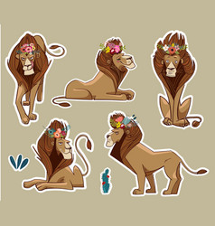 Set with cute lions vector