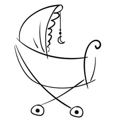 Silhouette a pram decorated with crescent vector