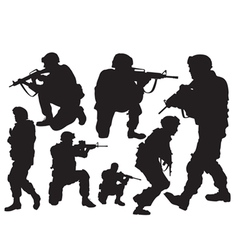 Silhouettes soldiers vector