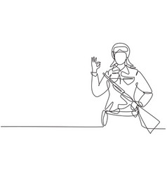 Single continuous line drawing female soldiers vector