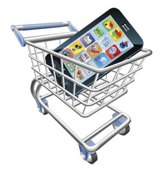 Smart phone shopping cart concept vector