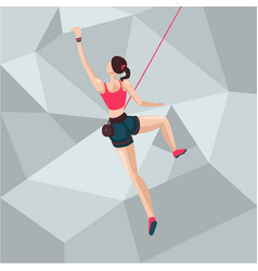 Sport girl on a climbing wall cartoon character vector