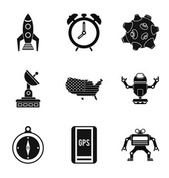 Sputnik icons set simple style vector