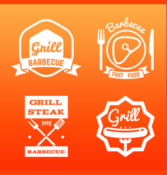 Steak house grill bar and barbecue label vector