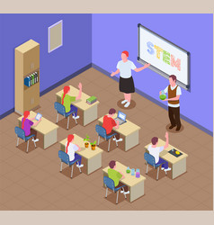 Stem education classroom composition vector
