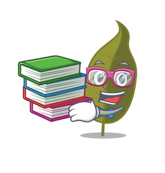 Student with book bay leaf mascot cartoon vector