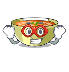 Super hero cartoon lentil soup ready to served vector