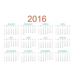 Template calendar 2016 years Week starts vector