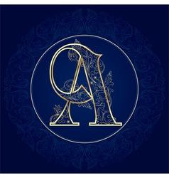 Vintage floral alphabet letter A vector