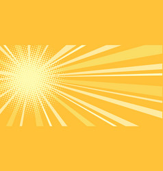 Yellow sun pop art background vector