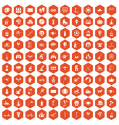 100 kids activity icons hexagon orange vector image vector image