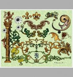 antique decoration elements vector image vector image