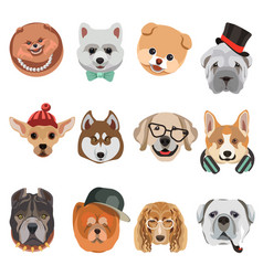 cartoon dogs and hipster puppy face muzzles vector image vector image