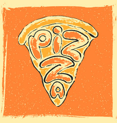 hand drawn lettering pizza vector image vector image
