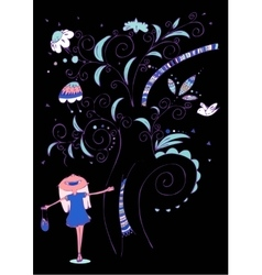 Little girl with tree vector image