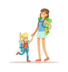 mother and her son with tourists backpacks vector image vector image