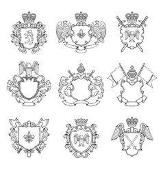 template of heraldic emblems different empty vector image