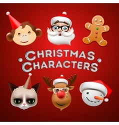 Christmas cute characters vector image vector image
