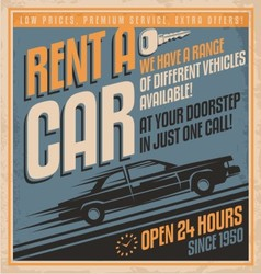 Retro promotional label for car rentals vector