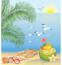 Summer beach landscape vector image vector image