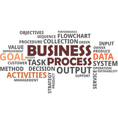 word cloud - business process vector image vector image