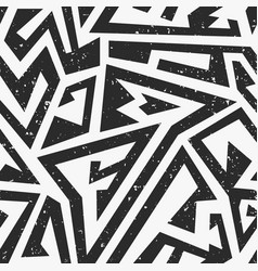 black maze seamless pattern with grunge effect vector image