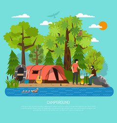 campground recreation family summer tent poster vector image