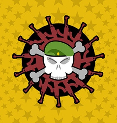 Emblem Military Skull beret with weapons vector image vector image