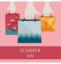 hands holding shopping bags to promote sales vector image
