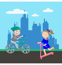 Happy girl on scooter boy riding bicycle kids vector