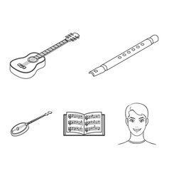 Musical instrument outline icons in set collection vector