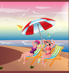 two girls sunbathing on the beach vector image vector image