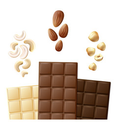 different chocolate bars vector image vector image