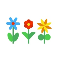 Flower icons colorful plants nature flat vector image