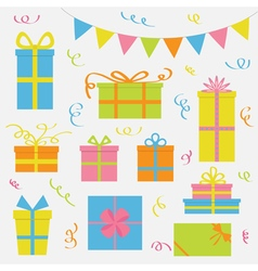 Gift box icon set Triangle paper flags Ribbon vector image