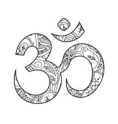 Om or Aum sign ornated in henna tatoo mehendi vector image