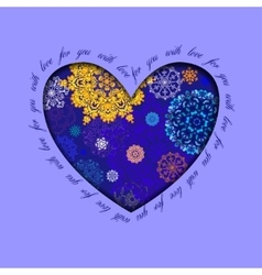 Winter heart design with golden blue snowflakes vector image vector image