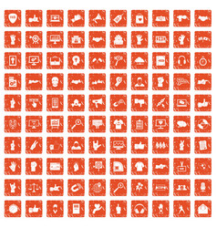 100 different gestures icons set grunge orange vector image