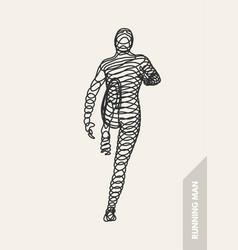 3d running man design sport business human body vector