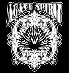 agave spirit hand drawn of with lettering vector image