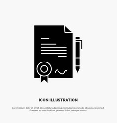 Agreement certificate done deal solid glyph icon vector