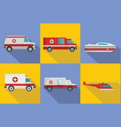 Ambulance transport banner concept set flat style vector