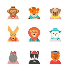 animal funny faces hipster avatars of monkey cat vector image