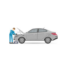 Auto mechanics in uniform repair engine icon vector