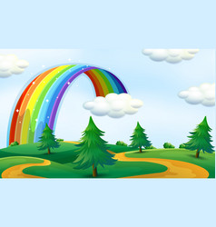 Beautiful landscape with rainbow vector