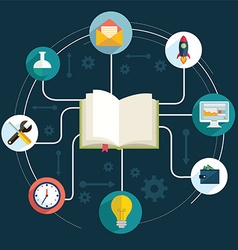 books and icons of science The concept of modern vector image