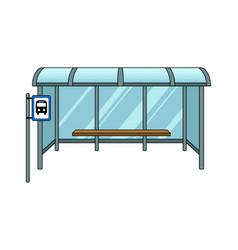 Bus stop cartoon pop art vector