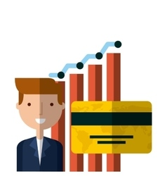 Businessman and graphic chart vector