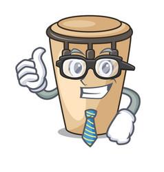 Businessman conga character cartoon style vector